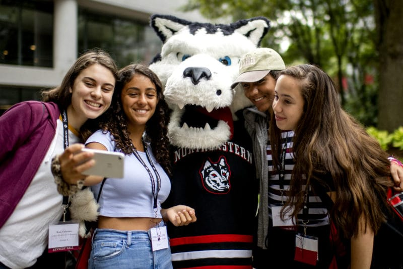 Northeastern University_Mascot with Students