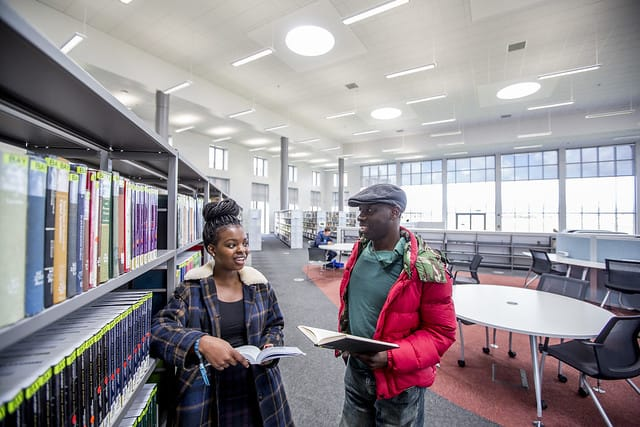 Swansea University students study in the library