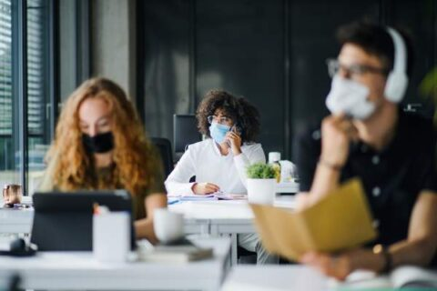 Students with Mask at University